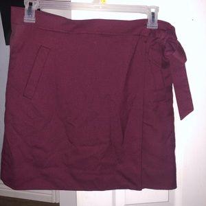 JCrew Wine-colored wool wrap skirt